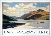 Loch Lomond, Stirlingshire & Dunbartonshire.  LMS Vintage Travel Poster by Norman Wilkinson